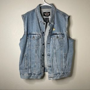 Harley Davidson Vintage Denim Trucker Vest Jean